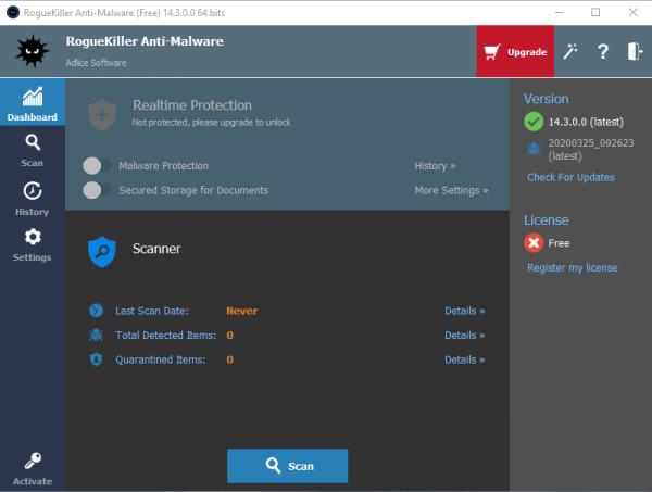 RogueKiller Anti-Malware Dashboard