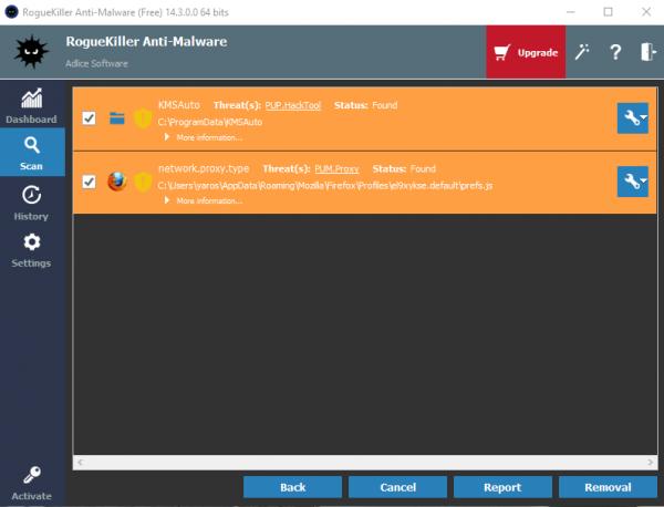 RogueKiller Anti-Malware detected