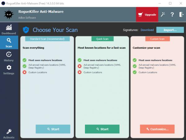 RogueKiller Anti-Malware Choose Scan