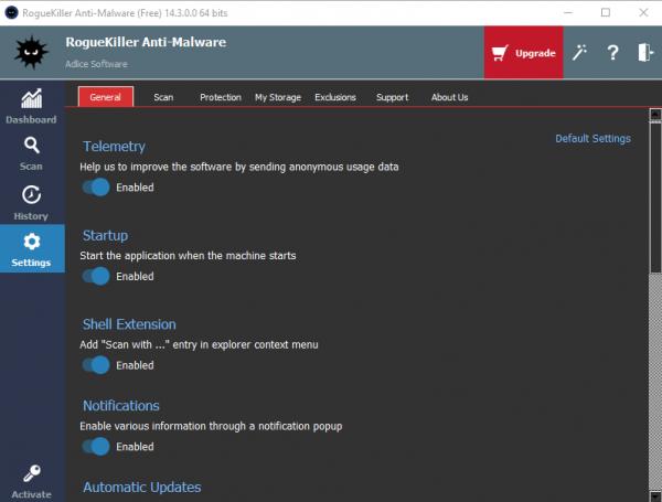 Anti-Malware Settings