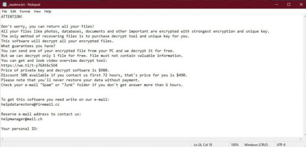 STOP ransomware note