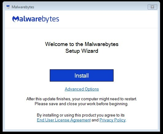 fake version of Malwarebytes antivirus